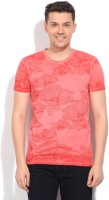 United Colors of Benetton Floral Print Mens Round Neck Red, Pink T-Shirt