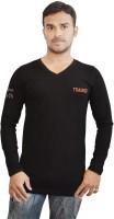Al-Harsha Trend Solid Men's V-neck Black T-Shirt