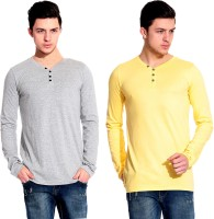 Lemon & Vodka Solid Mens Henley Yellow, Silver T-Shirt(Pack of 2)