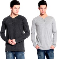 Lemon & Vodka Solid Mens Henley Grey, Silver T-Shirt(Pack of 2)