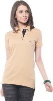Meira Solid Women's Polo Neck Beige T-Shirt