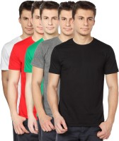 TOMO Solid Mens Round Neck Black, Grey, Green, Red, White T-Shirt(Pack of 5)