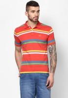 Ajile by Pantaloons Striped Men's Polo Neck Maroon T-Shirt