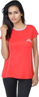 Aquamagica Solid Women's Round Neck Red T-Shirt