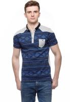 Fasnoya Printed Men's Polo Neck Blue T-Shirt