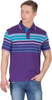 Wilkins & Tuscany Striped Mens Polo Neck Purple T-Shirt