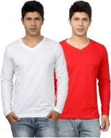 Top Notch Solid Mens V-neck White, Red T-Shirt(Pack of 2)