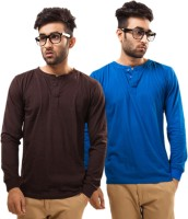 Unisopent Designs Solid Mens Henley Brown, Blue T-Shirt(Pack of 2)
