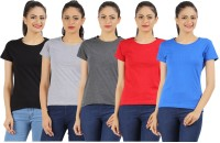 Appulse Solid Womens Round Neck Black, Blue, Grey, Red, Grey T-Shirt(Pack of 5)