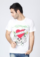 Ed Hardy Printed Mens Round Neck White T-Shirt