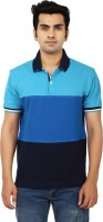 Ruse Solid Mens Polo Neck Blue T-Shirt