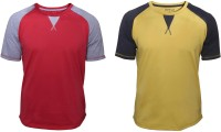 Poshuis Solid Men Round Neck Red, Yellow T-Shirt(Pack of 2)