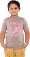 Menthol Boys Printed Cotton T Shirt(Beige, Pack of 1)