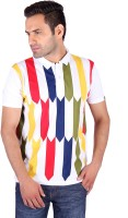 Swag Geometric Print, Striped, Checkered Mens Polo Neck Multicolor T-Shirt