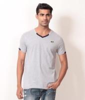 Londoner Solid Men's V-neck Grey T-Shirt