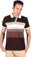 Swag Geometric Print, Striped Mens Polo Neck Brown, Beige T-Shirt