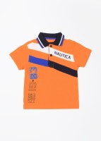 Nautica Boys Striped Cotton T Shirt(Orange, Pack of 1)