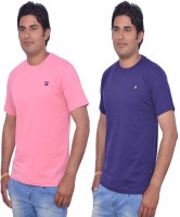 Leaf Solid Men's Round Neck Pink, Purple T-Shirt(Pack of 2)
