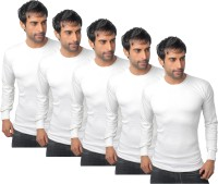 Nitlon Solid Mens Round Neck White T-Shirt(Pack of 5)