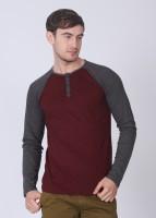 Breakbounce Solid Men's Henley Grey, Maroon T-Shirt