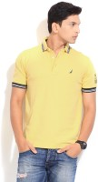 Nautica Striped Men's Polo Neck Yellow T-Shirt