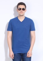 John Players Solid Men's V-neck Blue T-Shirt
