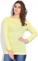 GAS Striped Womens Round Neck Yellow, White T-Shirt