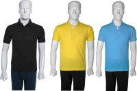 Selfie Seven Solid Mens Polo Neck Multicolor T-Shirt(Pack of 3)
