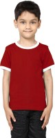 99Tshirts Boys Solid Cotton T Shirt(Red, Pack of 1)