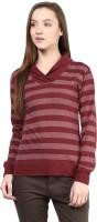 Hypernation Striped Womens Draped Neck Maroon T-Shirt