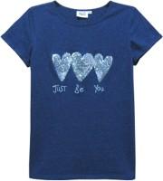 Abstract Mood Girls Printed T Shirt(Dark Blue)