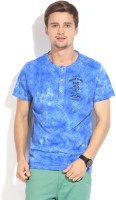 People Printed Mens Henley Blue T-Shirt