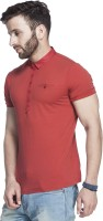 Tinted Solid Mens Henley Red T-Shirt