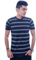 Urban Flux Striped Men Round Neck Black, Grey T-Shirt