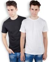 TOMO Solid Men's Round Neck Black, White T-Shirt(Pack of 2)