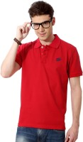 People Solid Men's Polo Neck Red T-Shirt