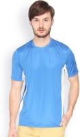 Campus Sutra Solid Men Round or Crew Denim Blue, White T-Shirt