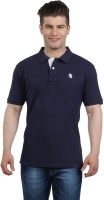 The Cotton Company Solid Men's Polo Neck Dark Blue T-Shirt
