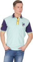 Wilkins & Tuscany Solid Men's Polo Neck Blue T-Shirt
