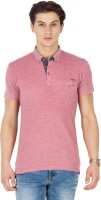 Mufti Solid Men's Polo Neck Pink T-Shirt