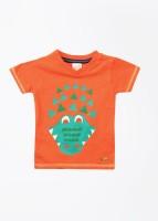 FS Mini Klub Boys Printed T Shirt(Orange, Pack of 1)