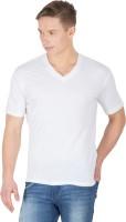 Hypernation Solid Men's V-neck White T-Shirt