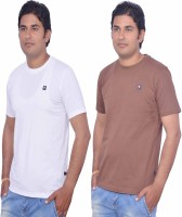 Leaf Solid Men's Round Neck White, Brown T-Shirt(Pack of 2)