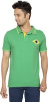 Red Line Solid Men Polo Neck Green T-Shirt