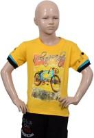 Puppet-Nx Printed Boys Round Neck Yellow T-Shirt