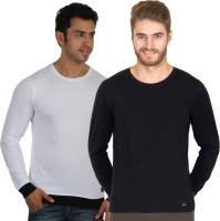 Rigo Solid Mens Round Neck White, Black T-Shirt(Pack of 2)