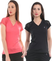 Ultra Fit Solid Women's V-neck Pink, Black T-Shirt(Pack of 2)