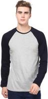 Izinc Solid Men Round Neck Dark Blue, Grey T-Shirt