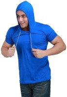 Inkovy Solid Mens Hooded Blue T-Shirt
