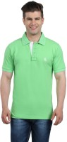The Cotton Company Solid Men's Polo Neck Green T-Shirt